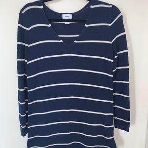 S Old Navy White & Navy Striped  V-Neck Sweater